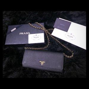 Prada Authenticate Saffiano Wallet on Chain Black